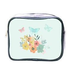 Watercolor Floral Blue Cute Butterfly Illustration Mini Toiletries Bags by paulaoliveiradesign