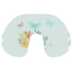 Watercolor Floral Blue Cute Butterfly Illustration Travel Neck Pillows by paulaoliveiradesign