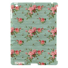 Vintage Blue Wallpaper Floral Pattern Apple Ipad 3/4 Hardshell Case (compatible With Smart Cover) by paulaoliveiradesign