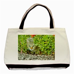 Hidden Domestic Cat With Alert Expression Basic Tote Bag by dflcprints