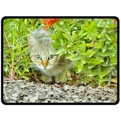 Hidden Domestic Cat With Alert Expression Fleece Blanket (large)  by dflcprints