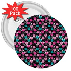 Cute Cats Iv 3  Buttons (100 Pack)  by tarastyle