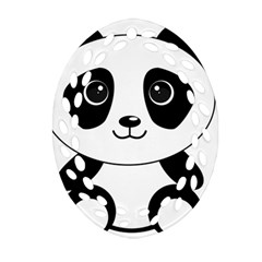 Bear Panda Bear Panda Animals Oval Filigree Ornament (two Sides) by Nexatart