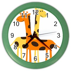 Giraffe Africa Safari Wildlife Color Wall Clocks by Nexatart