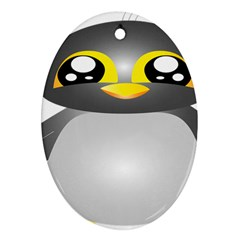 Cute Penguin Animal Oval Ornament (two Sides) by Nexatart