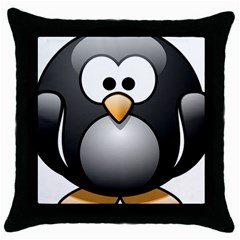 Penguin Birds Aquatic Flightless Throw Pillow Case (black) by Nexatart