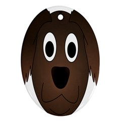 Dog Pup Animal Canine Brown Pet Oval Ornament (two Sides) by Nexatart