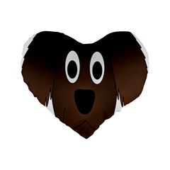 Dog Pup Animal Canine Brown Pet Standard 16  Premium Flano Heart Shape Cushions by Nexatart