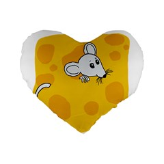 Rat Mouse Cheese Animal Mammal Standard 16  Premium Flano Heart Shape Cushions by Nexatart