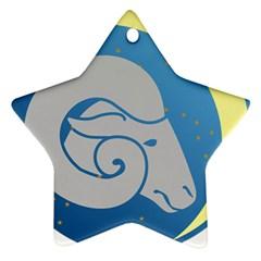 Ram Zodiac Sign Zodiac Moon Star Ornament (star) by Nexatart
