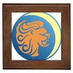Lion Zodiac Sign Zodiac Moon Star Framed Tiles by Nexatart