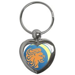 Lion Zodiac Sign Zodiac Moon Star Key Chains (heart)  by Nexatart