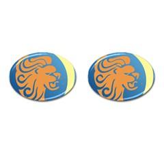 Lion Zodiac Sign Zodiac Moon Star Cufflinks (oval) by Nexatart