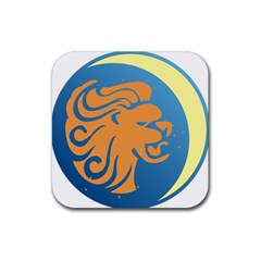Lion Zodiac Sign Zodiac Moon Star Rubber Square Coaster (4 Pack)  by Nexatart