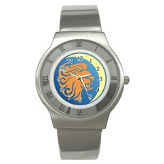 Lion Zodiac Sign Zodiac Moon Star Stainless Steel Watch by Nexatart