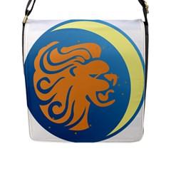 Lion Zodiac Sign Zodiac Moon Star Flap Messenger Bag (l)  by Nexatart