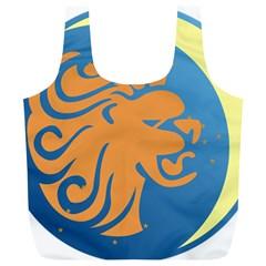 Lion Zodiac Sign Zodiac Moon Star Full Print Recycle Bags (l)