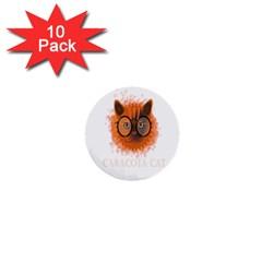 Cat Smart Design Pet Cute Animal 1  Mini Buttons (10 Pack)  by Nexatart