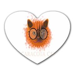 Cat Smart Design Pet Cute Animal Heart Mousepads by Nexatart