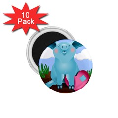 Pig Animal Love 1 75  Magnets (10 Pack)  by Nexatart