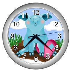 Pig Animal Love Wall Clocks (silver)  by Nexatart