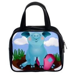 Pig Animal Love Classic Handbags (2 Sides) by Nexatart
