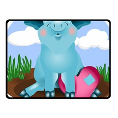 Pig Animal Love Fleece Blanket (small) by Nexatart