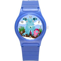 Pig Animal Love Round Plastic Sport Watch (s) by Nexatart