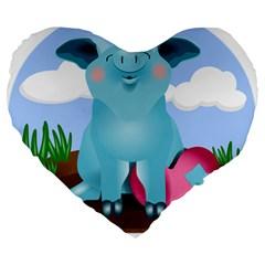 Pig Animal Love Large 19  Premium Heart Shape Cushions by Nexatart