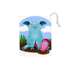 Pig Animal Love Drawstring Pouches (small)  by Nexatart