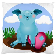 Pig Animal Love Large Flano Cushion Case (two Sides) by Nexatart
