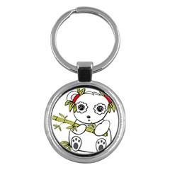 Panda China Chinese Furry Key Chains (round)  by Nexatart