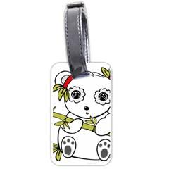 Panda China Chinese Furry Luggage Tags (two Sides) by Nexatart