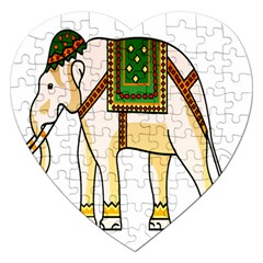 Elephant Indian Animal Design Jigsaw Puzzle (heart) by Nexatart