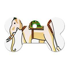 Elephant Indian Animal Design Dog Tag Bone (two Sides) by Nexatart