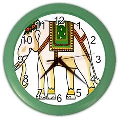 Elephant Indian Animal Design Color Wall Clocks by Nexatart