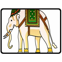 Elephant Indian Animal Design Double Sided Fleece Blanket (large)  by Nexatart