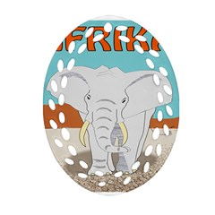 Africa Elephant Animals Animal Oval Filigree Ornament (two Sides) by Nexatart
