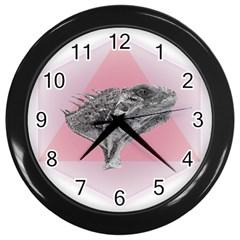 Lizard Hexagon Rosa Mandala Emblem Wall Clocks (black) by Nexatart