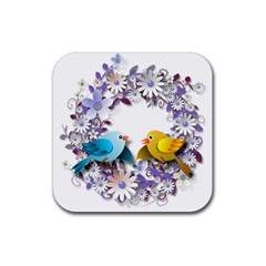 Flowers Floral Flowery Spring Rubber Square Coaster (4 Pack)  by Nexatart