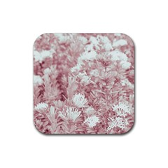 Pink Colored Flowers Rubber Coaster (square)  by dflcprints