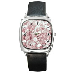 Pink Colored Flowers Square Metal Watch by dflcprints