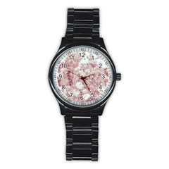 Pink Colored Flowers Stainless Steel Round Watch by dflcprints