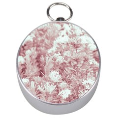 Pink Colored Flowers Silver Compasses by dflcprints