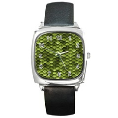 Green Mermaid Scales   Square Metal Watch by paulaoliveiradesign