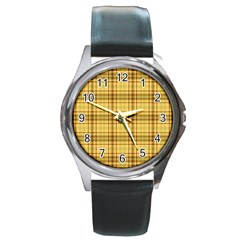 Plaid Yellow Fabric Texture Pattern Round Metal Watch by paulaoliveiradesign