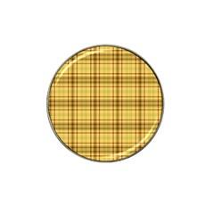 Plaid Yellow Fabric Texture Pattern Hat Clip Ball Marker (4 Pack) by paulaoliveiradesign