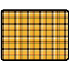 Yellow Fabric Plaided Texture Pattern Fleece Blanket (large)  by paulaoliveiradesign