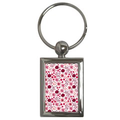 Red Floral Seamless Pattern Key Chains (rectangle)  by TastefulDesigns