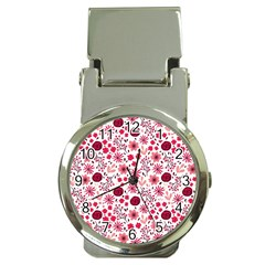 Red Floral Seamless Pattern Money Clip Watches by TastefulDesigns